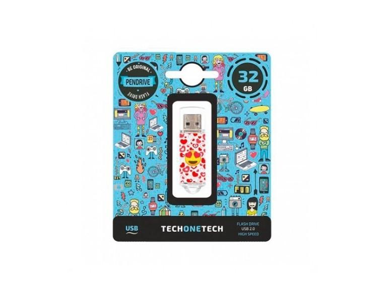 Memoria USB 32 GB Tech One Emoji Ojos de Corazón