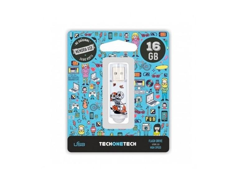 Memoria USB 32 GB Tech One Calavera en Moto