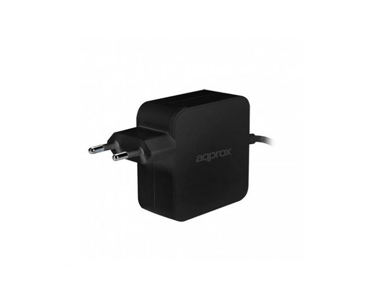 ADAPTADOR CORRIENTE USB-C DE 65W APPROX NEGRO NOTEBOOK/USB-C/65W/PROTECCION SOBRECARGA APPA65C